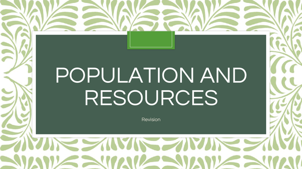 Preview of Population and resources