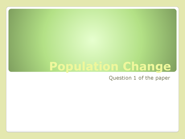 Preview of Population Change Notes