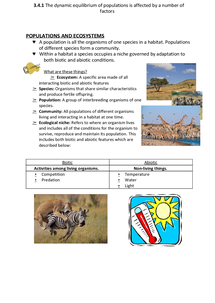 Preview of 3.4.1 Populations and the Environment (AQA A2 Biology)