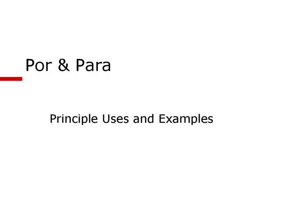 Preview of Por/para