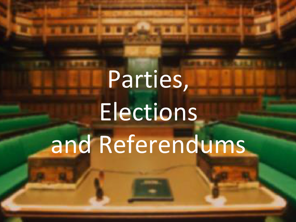 Preview of Powerpoint on Parties, Elections and Referendums in the UK