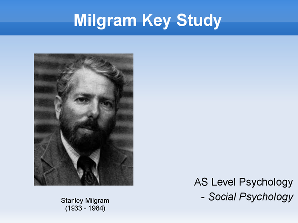 Preview of Powerpoint on Milgram study