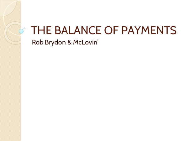 Preview of PPT on balance of payments for economics