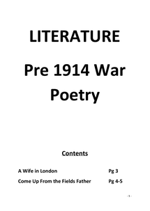 Preview of Pre 1914 War Poetry Revision Notes