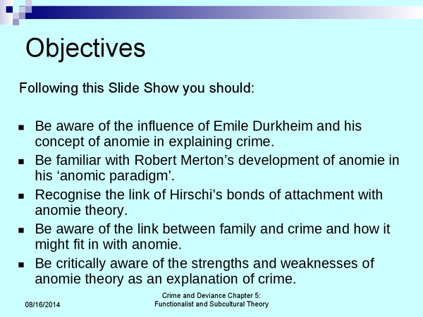 Preview of Presentation explaining the Anomie Theory of Emile Durkhiem - Sociology