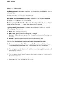 Preview of Price Discrimination - Edexcel Unit 3
