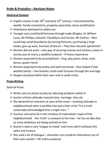 Preview of Pride & Prejudice - Revision Notes (AQA)