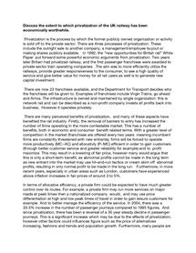 Preview of Privatisation Essay- Transport Economics