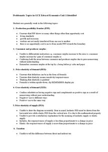 Preview of Problematic Topics in GCE Edexcel Economics Unit 1 Identified