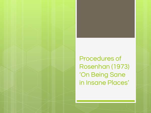 Preview of Procedures of Rosenhan (1973) 'On Being Sane in Insane Places'.pptx