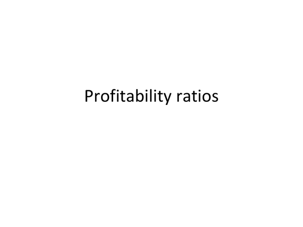 Preview of PROFITABILITY RATIOS