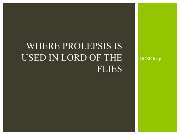 Preview of Prolepsis in Lord of the Flies