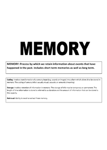 Preview of PSYA1- Memory - Complete set of notes