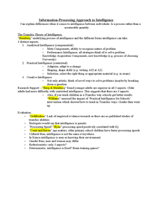 Preview of PSYA3 Psychology Intelligence- Information-Processing Approach
