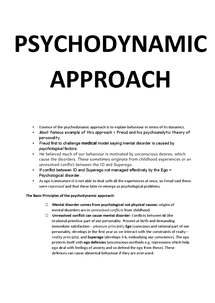 Preview of Psychodynamic Approach to Abnormality - Key Information!