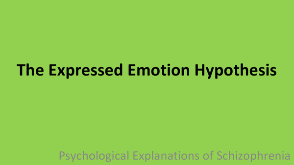 Preview of Psychological Explanation of Schizophrenia: EE Hypothesis