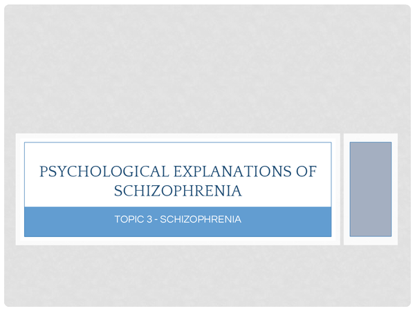 Preview of Psychological Explanations for Schizophrenia