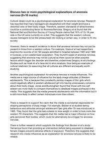 psychological explanations of anorexia nervosa full essay  page 1
