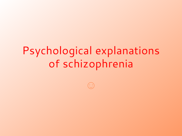 explanations for schizophrenia Extracts from this document introduction schizophrenia is a mental illness in which an individual is unable to differentiate between fantasy and reality.