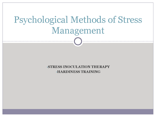 Preview of Psychological Methods of Stress Management