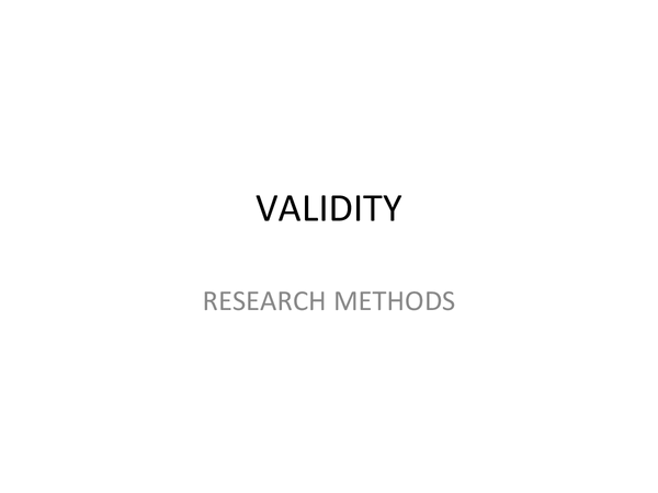 Preview of Psychology AQA 'A' - Research Methods - Validity