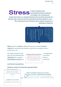Preview of Psychology AS - A general overview of Stress