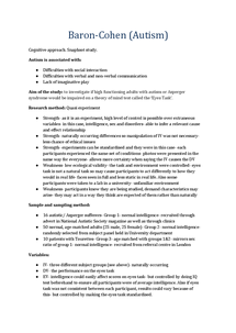 Preview of Psychology AS- Detailed notes on 15 studies- OCR
