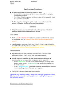 Preview of Psychology - Experiments and Hypotheses