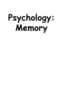 Preview of Psychology - Memory summary notes