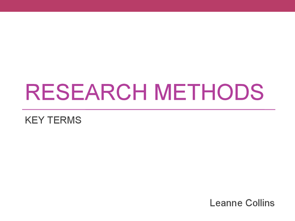 Preview of Psychology Research Methods Key Terms