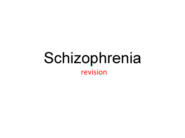 Preview of Psychology - schizophrenia module