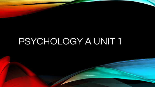 Preview of Psychology unit 1