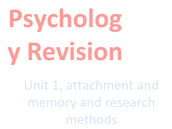 Preview of Psychology Unit 1!