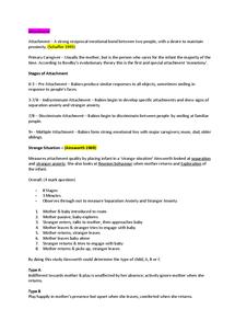 Preview of Psychology unit 1 spec A - Attachment