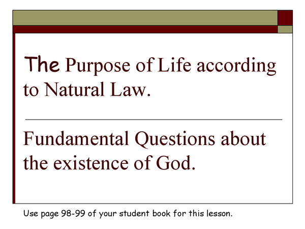 Preview of purose of life according to natural law