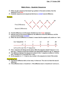 Preview of Quadratic sequences - notes on how to do them