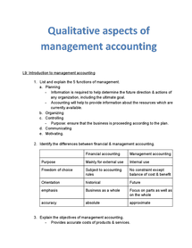 Preview of qualitative aspects of management accounting.