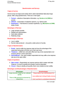 Preview of Questionnaires and Surveys - AS Sociology Methods revision