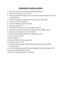 Preview of Questions to ask a writer