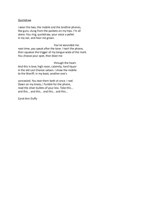 an analysis of war photographer a poem by carol ann duffy A poem which describes a person's experience is war photographer by carol ann duffy the poem depicts a photographer who has recently returned from an assignment to a war-ridden country.
