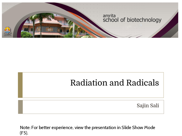 Preview of Radiation and Radicals