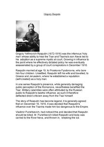 Preview of Rasputin