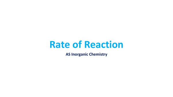 Preview of Rate of Reaction