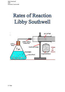 Chemistry rate of reactions coursework