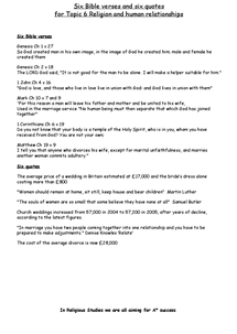 Preview of R.E. Topic 6 Marriage and Relationships Bible Quotes and Quotes