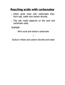 Preview of reacting acids with carbonates