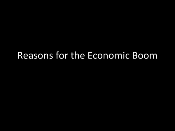 Preview of Reasons for the Economic Boom in America during the 1920s