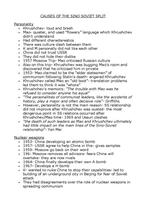 Preview of Reasons for the Sino Soviet Split Updated