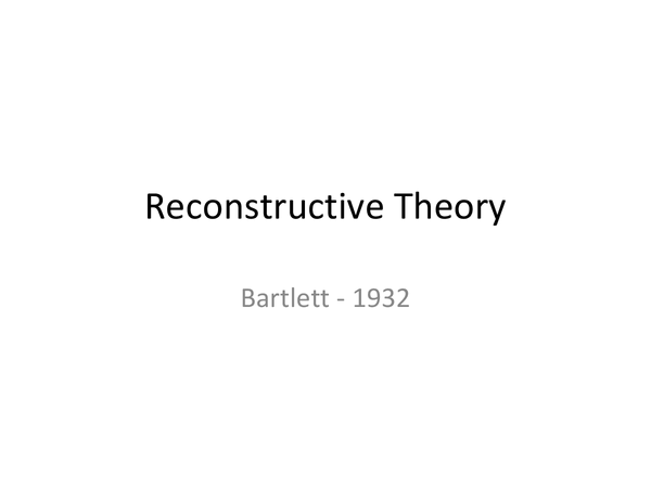 Preview of Reconstructive Memory (Bartlett) 1932