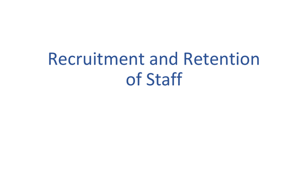 Preview of Recruitment and Retention of Staff
